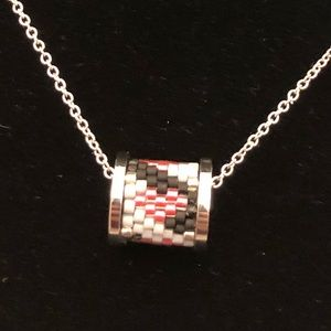 Japanese seed bead heart drum necklace